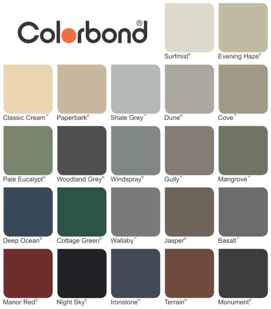 Colorbond gutters colour chart